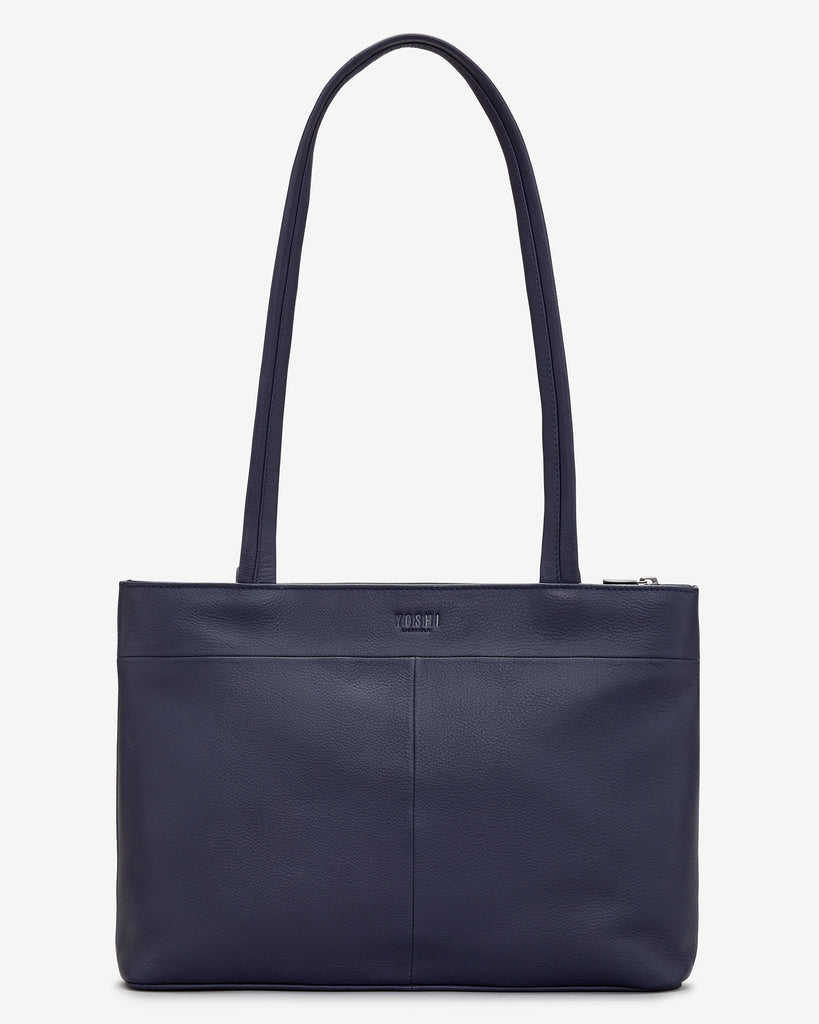 Magic of Winter Navy Leather Shoulder Bag -  - Yoshi