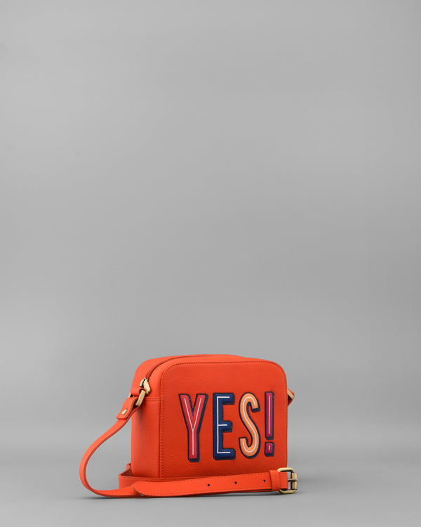Make Your Mind Up Tangerine Leather Shoulder Bag by Yoshi B
