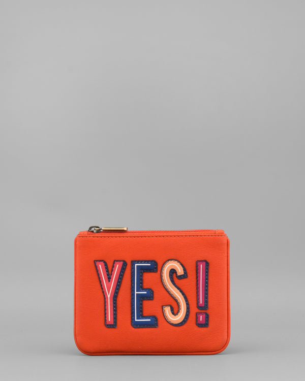 Make Your Mind Up Yes Tangerine Leather Coin Purse by Yoshi A
