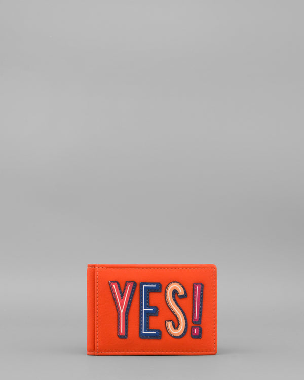 Make Your Mind Up Yes Tangerine Leather Oyster Card Holder by Yoshi A