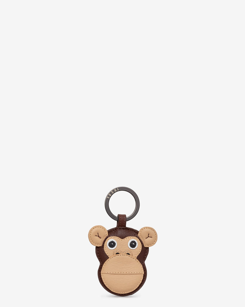 Marcel the Monkey Brown Leather Keyring - Brown - Yoshi