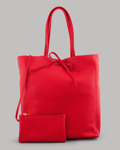 Mariel Red Leather Shopper Bag For Ladies By Yoshi