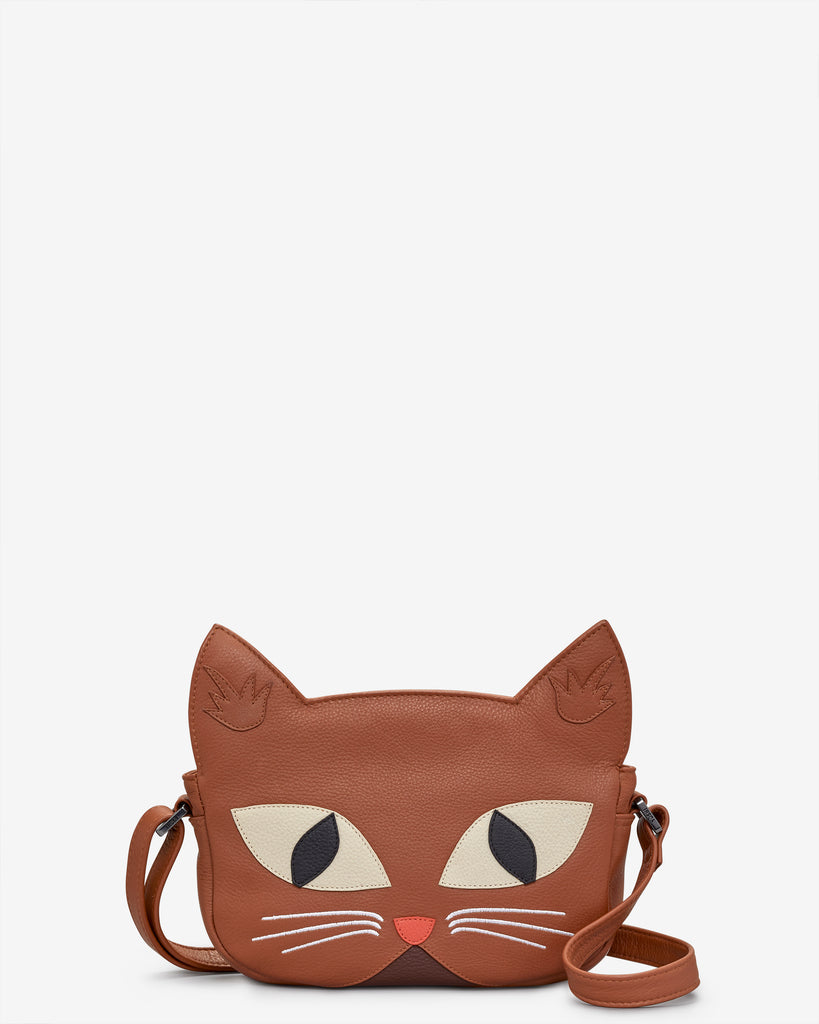 Marmalade The Cat Tan Leather Cross Body Bag - Tan - Yoshi