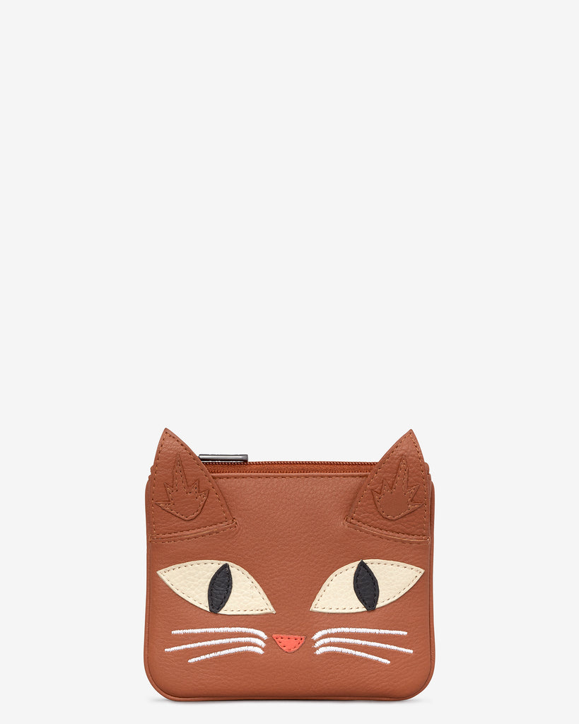 Marmalade The Cat Tan Leather Zip Top Purse - Yoshi