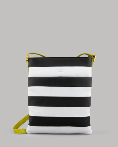 Marty Black and White Stripe Ladies Cross Body Bag By Yoshi