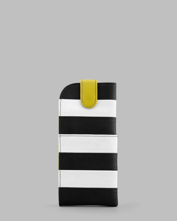 Marty Monochrome Stripe Leather Glasses Case a