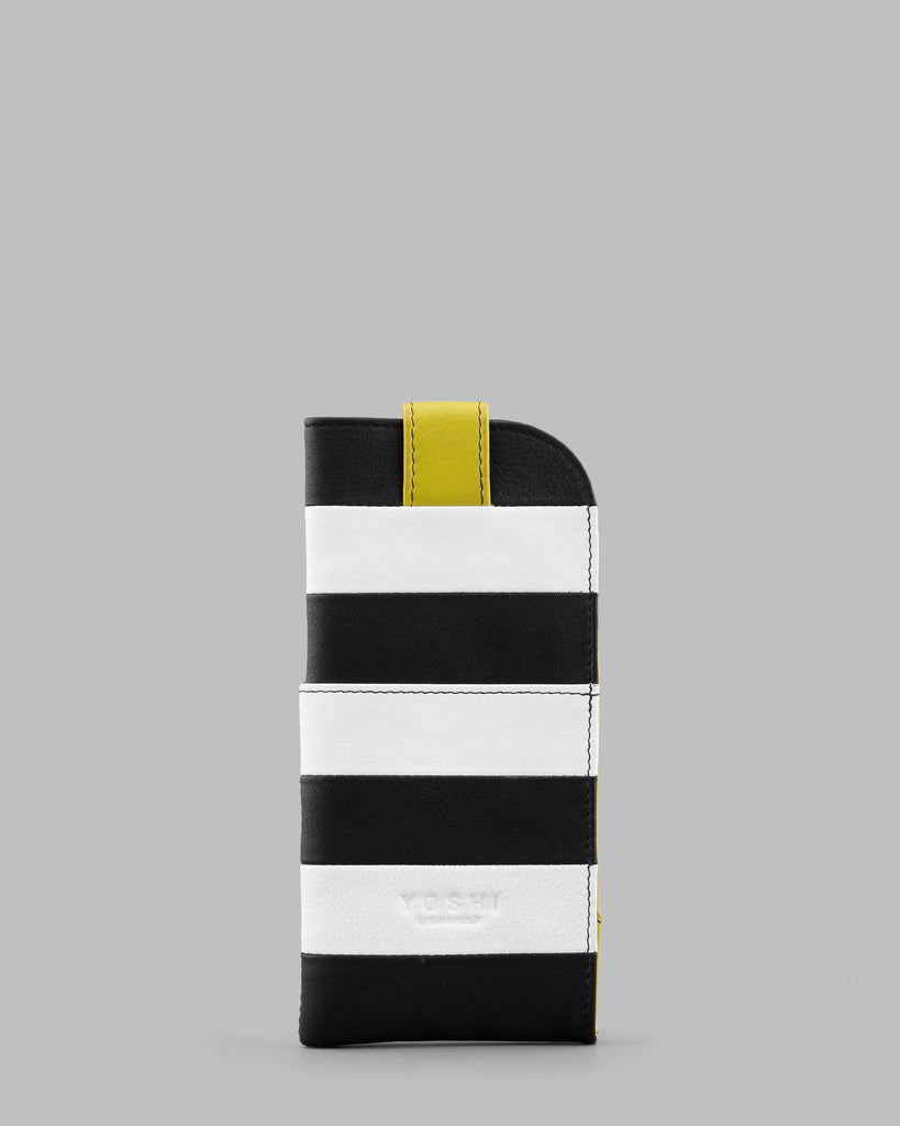 Marty Monochrome Stripe Leather Glasses Case b
