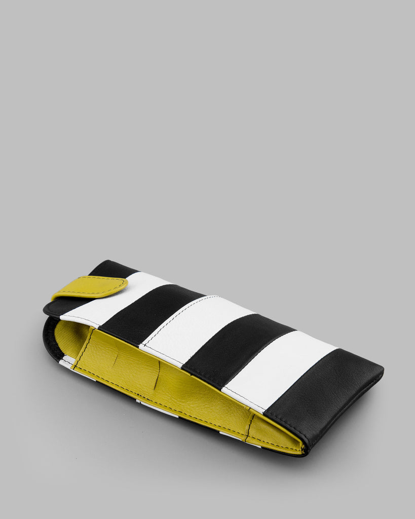 Marty Monochrome Stripe Leather Glasses Case c