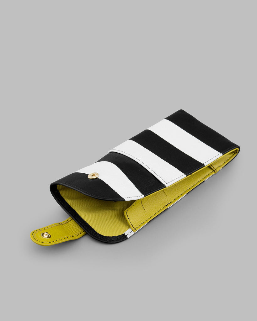 Marty Monochrome Stripe Leather Glasses Case d