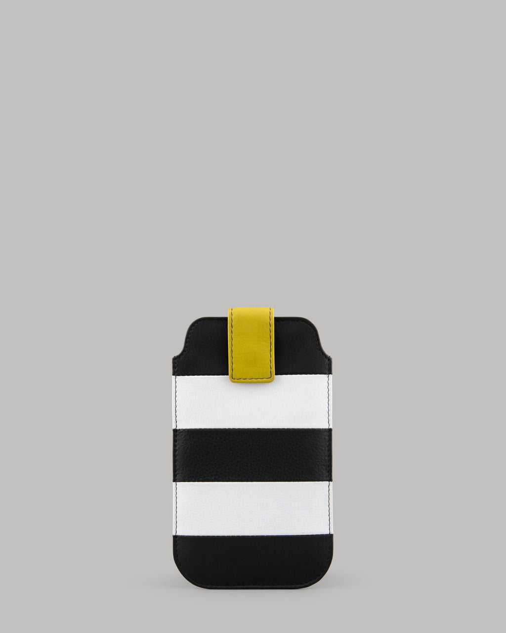 Marty Monocrome Stripe Black Leather Mobile Phone Case Yoshi