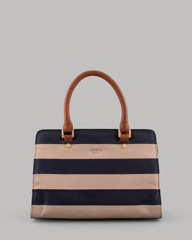 Marty Navy Stripe Ladies Leather Tote Bag by Yoshi