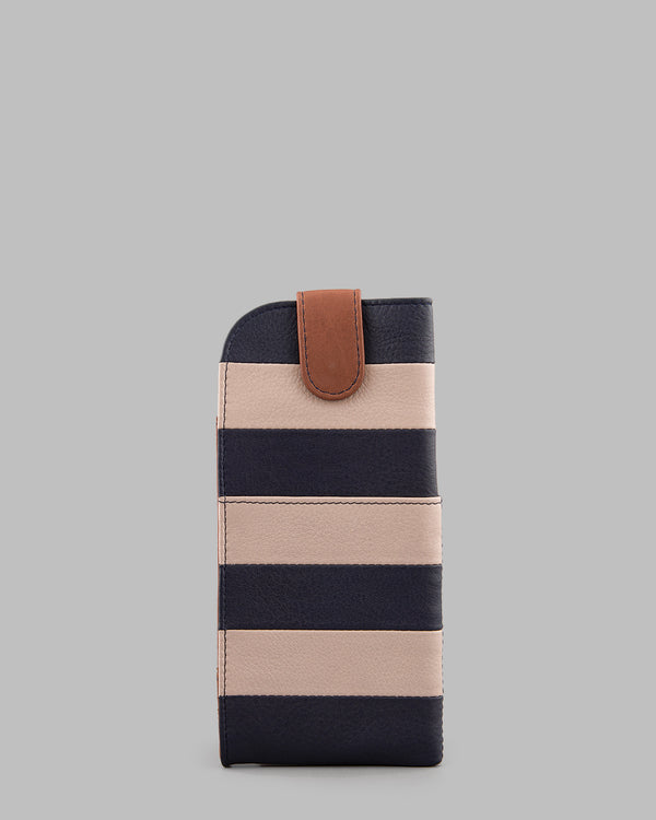 Marty Navy Stripe Leather Glasses Case A