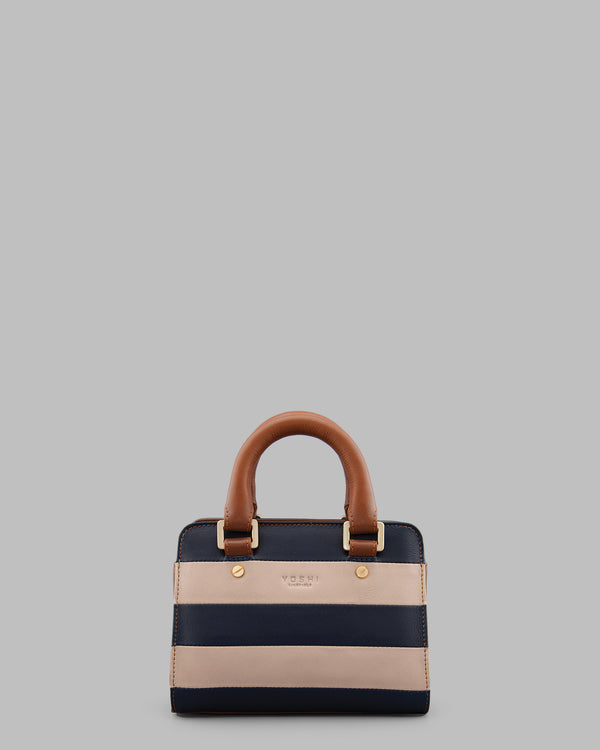 Marty Navy Stripe Leather Grab Bag A