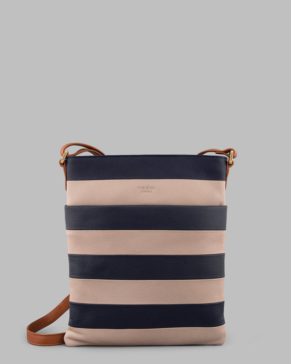 Marty Navy Stripe Leather Large Cross Body Bag A