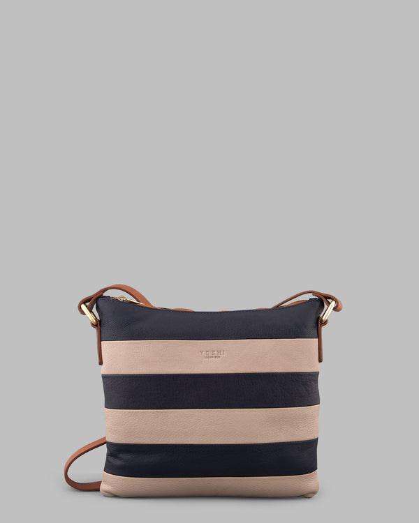 Marty Navy Stripe Leather Medium Cross Body Bag A