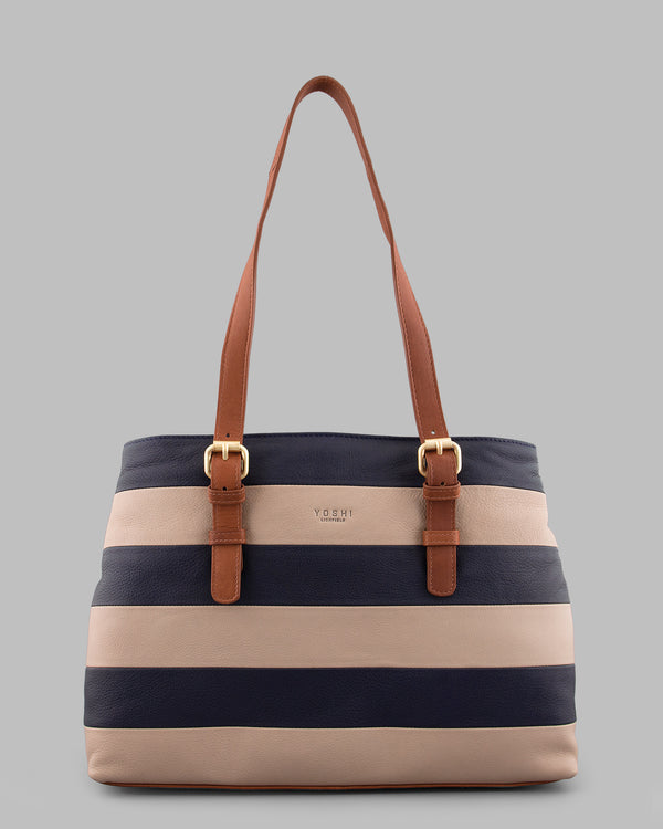 Marty Navy Stripe Leather Shoulder Bag A