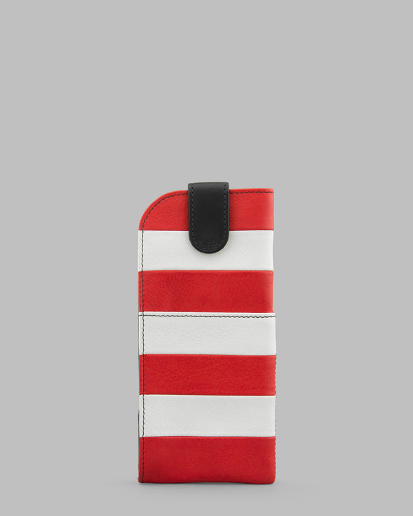 Marty Stripe Red And White Leather Glasses Case A