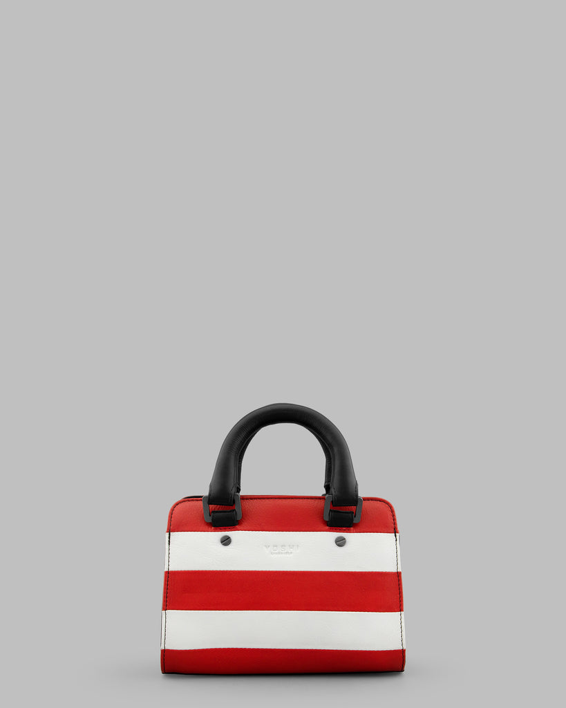 Marty Red And White Stripe Leather Grab Bag - Red - Yoshi