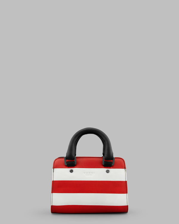 Marty Red & White Stripe Leather Grab Bag A
