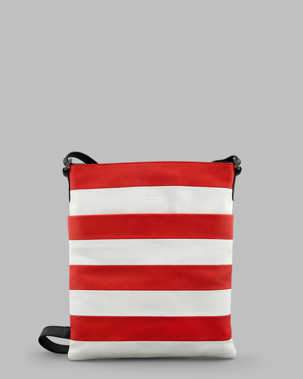Marty Red & White Stripe Leather Large Cross Body Bag A
