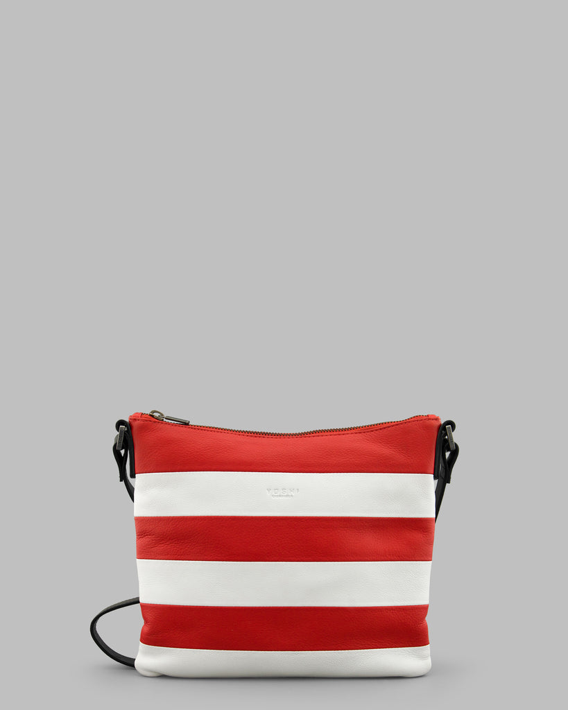 Marty Stripe Red And White Leather Cross Body Bag - Red - Yoshi