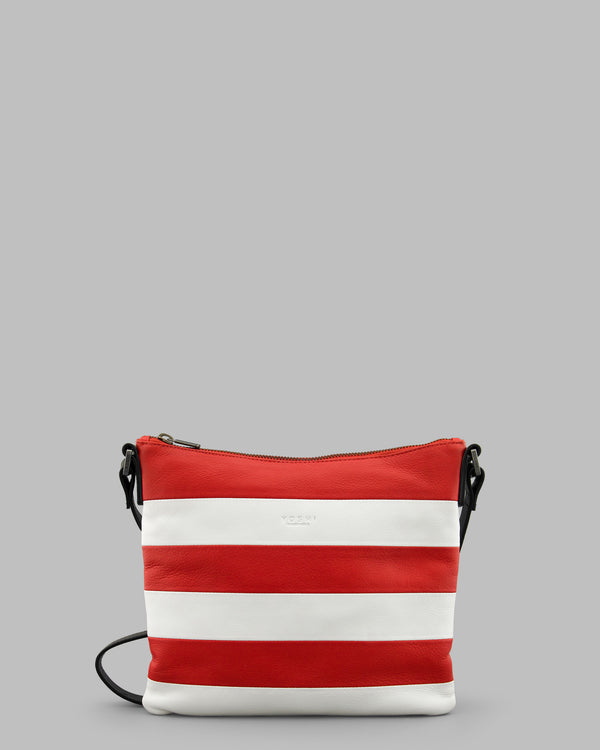 Marty Red & White Stripe Leather Medium Cross Body Bag A
