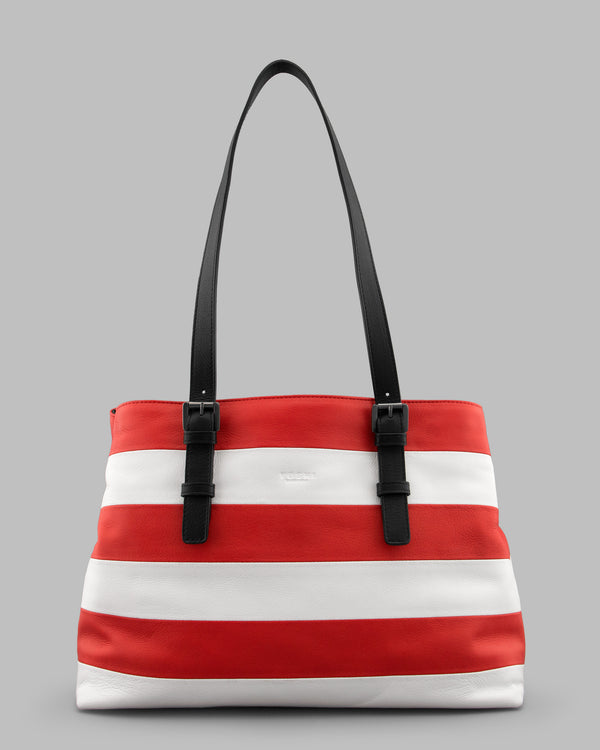 Marty Red & White Stripe Leather Shoulder Bag A