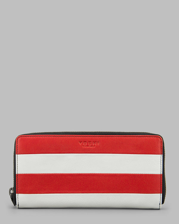 Marty Red & White Stripe Leather Zip Round Purse A