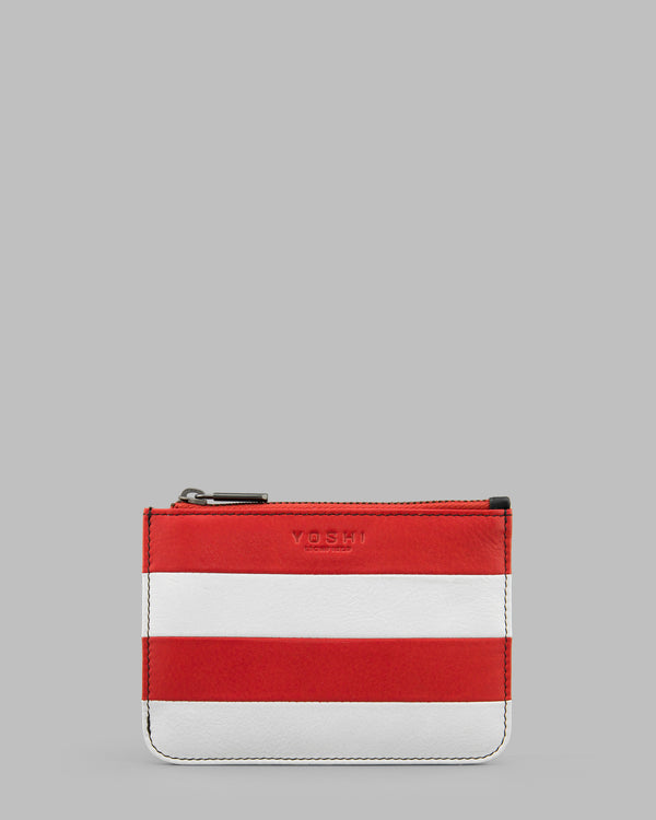 Marty Red & White Stripe Leather Zip Top Purse A