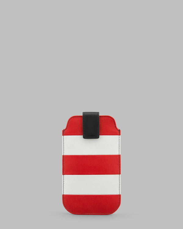 Marty Red & White Stripe Leather iPhone Mobile Phone Case A