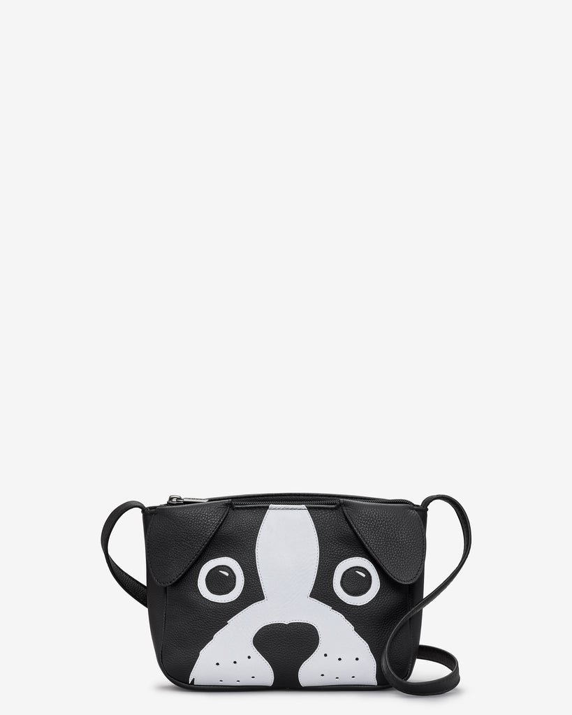Max the Dog Black Leather Cross Body Bag - Black - Yoshi