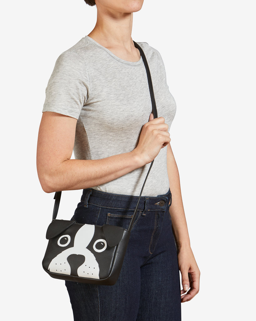 Max the Dog Black Leather Cross Body Bag -  - Yoshi