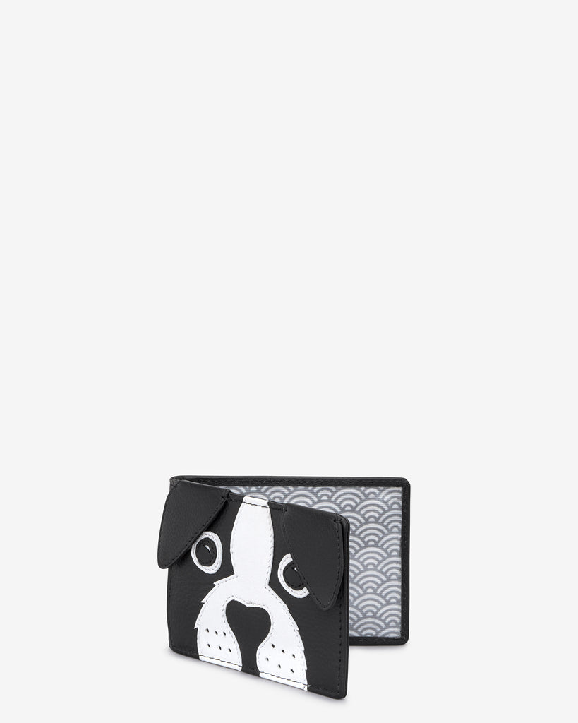 Max the Dog Black Leather Travel Pass Holder - Yoshi