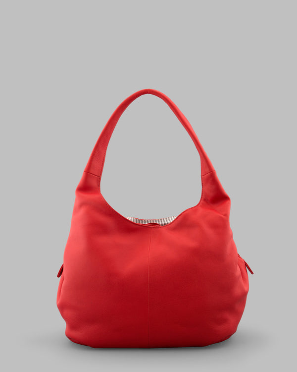 Meehan Red Leather Slouch Shoulder Bag a