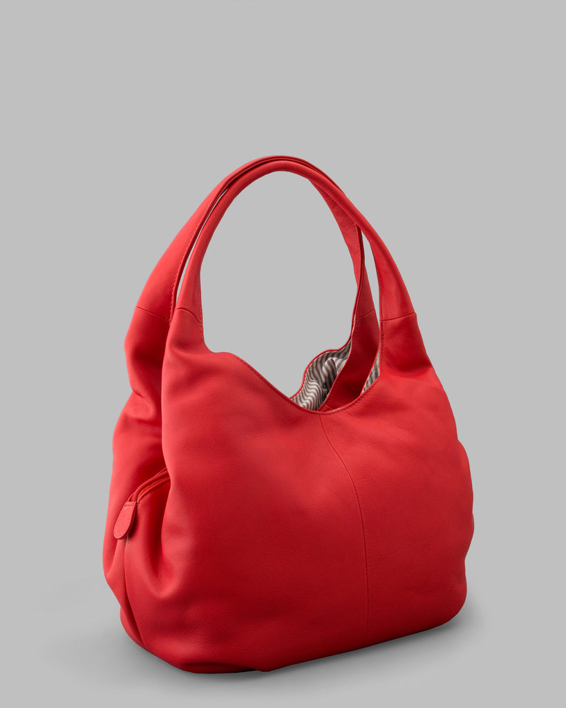 Meehan Red Leather Slouch Shoulder Bag b