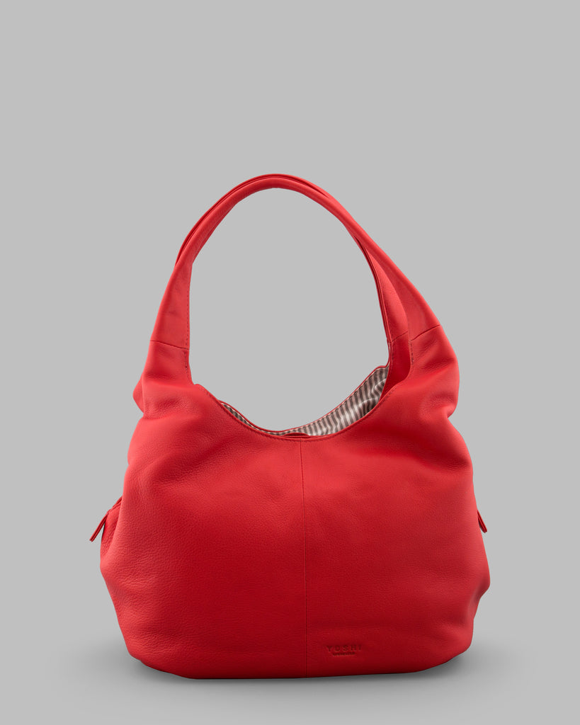 Meehan Red Leather Slouch Shoulder Bag c