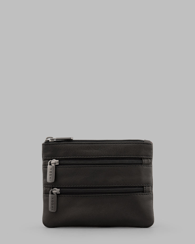 Black Leather Meehan Triple Zip Purse - Yoshi