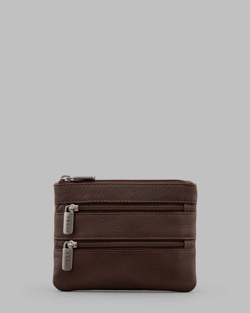 Brown Leather Meehan Triple Zip Purse - Yoshi
