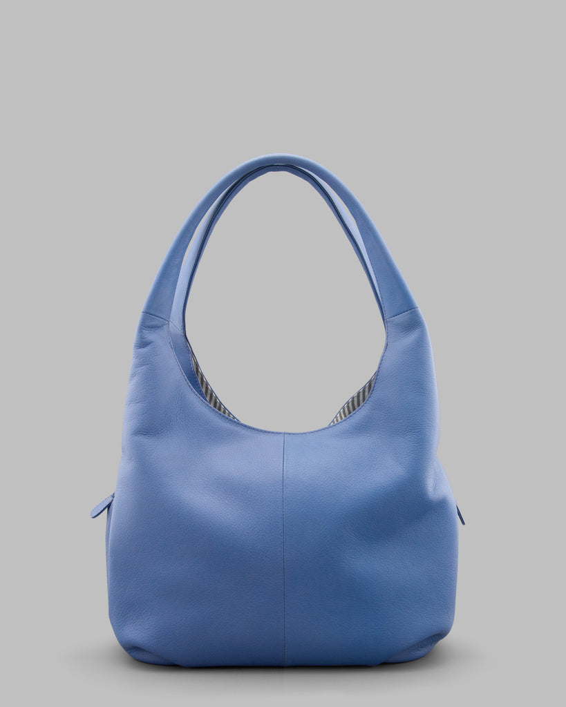 Meehan Cornflower Blue Leather Slouch Shoulder Bag a