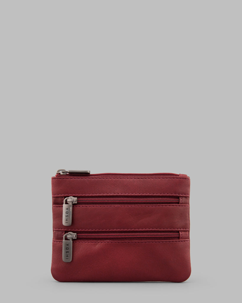 Dark Red Leather Meehan Triple Zip Purse - Dark Red - Yoshi