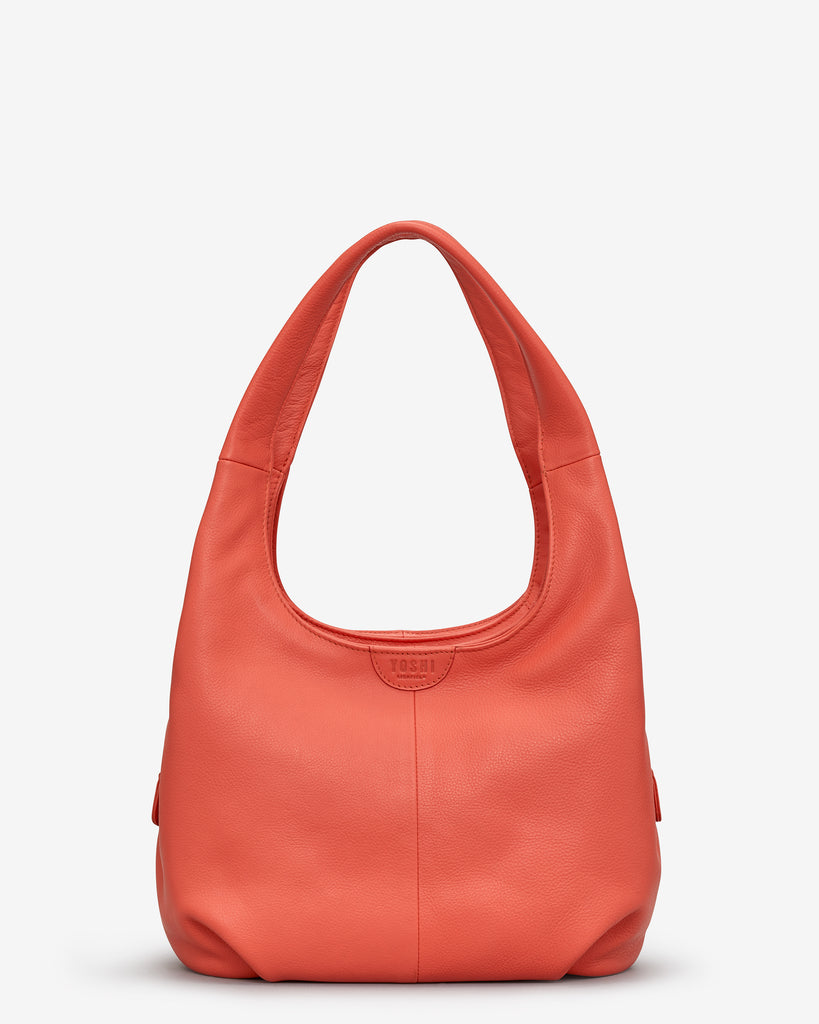 Meehan Coral Leather Slouch Shoulder Bag - Coral - Yoshi