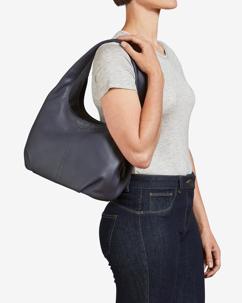 Meehan Navy Leather Slouch Shoulder Bag - Yoshi