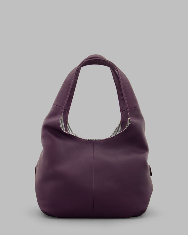 Meehan Purple Leather Slouch Shoulder Bag a