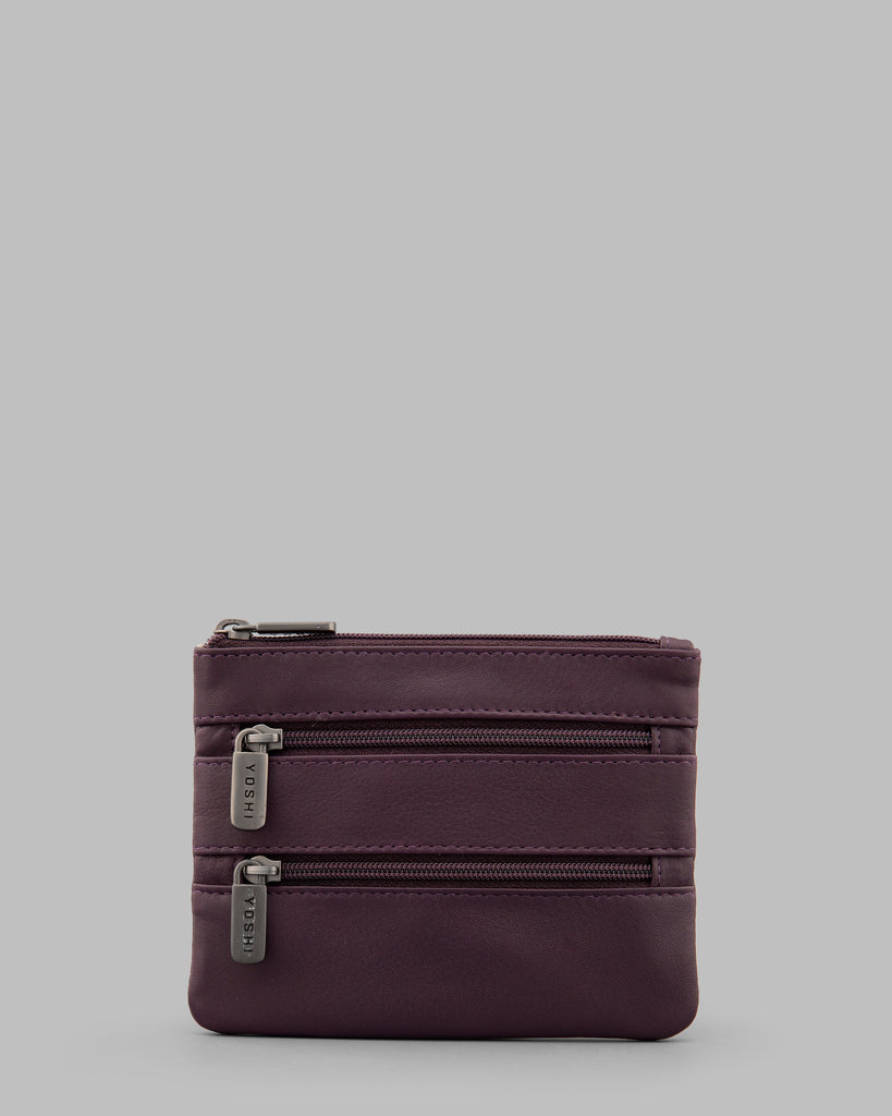 Purple Leather Meehan Triple Zip Purse - Purple - Yoshi
