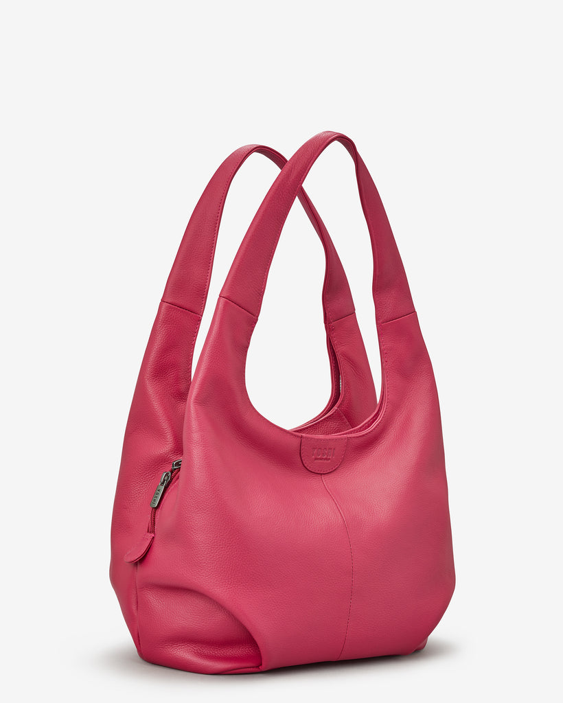Meehan Raspberry Leather Slouch Shoulder Bag - Yoshi
