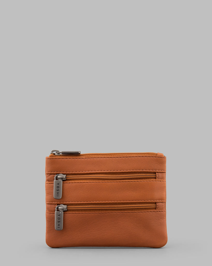 Tan Leather Meehan Triple Zip Purse - Tan - Yoshi