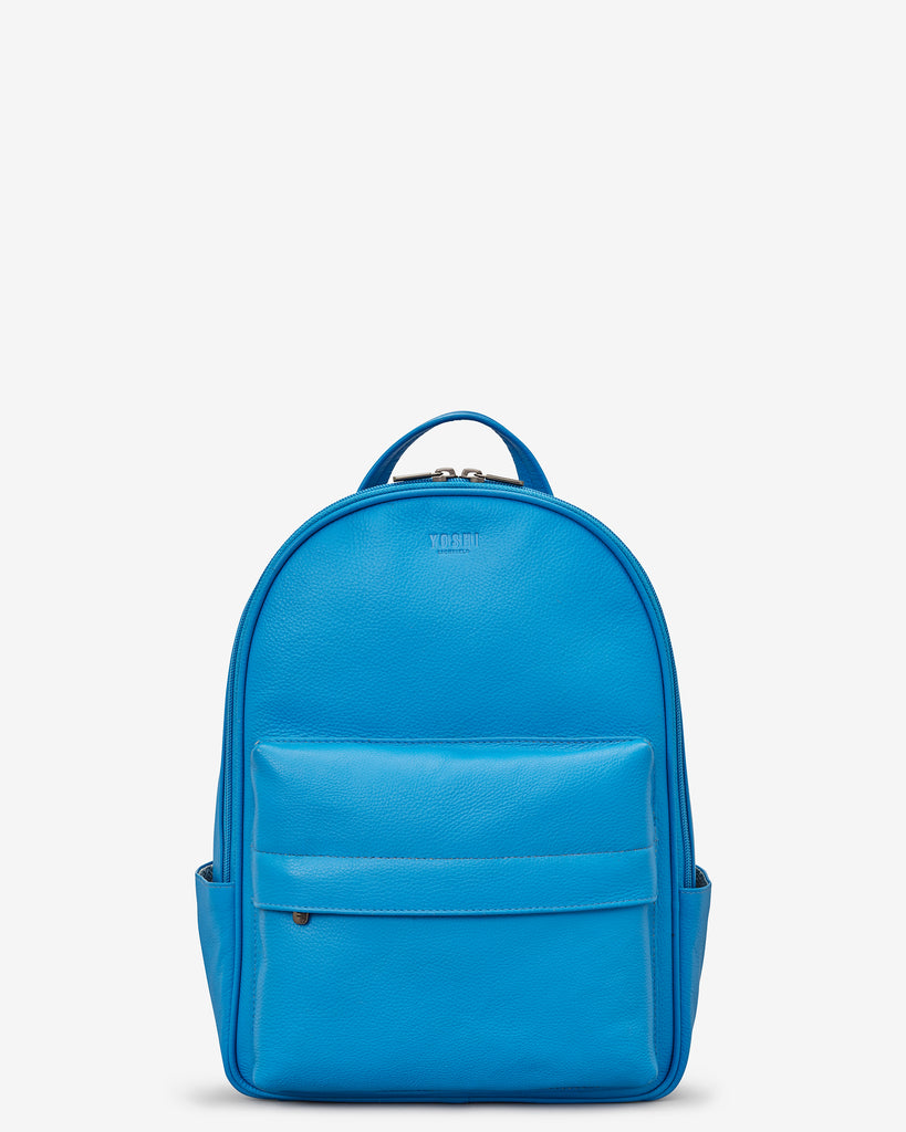 Mercer Cobalt Blue Leather Backpack Bag - Yoshi