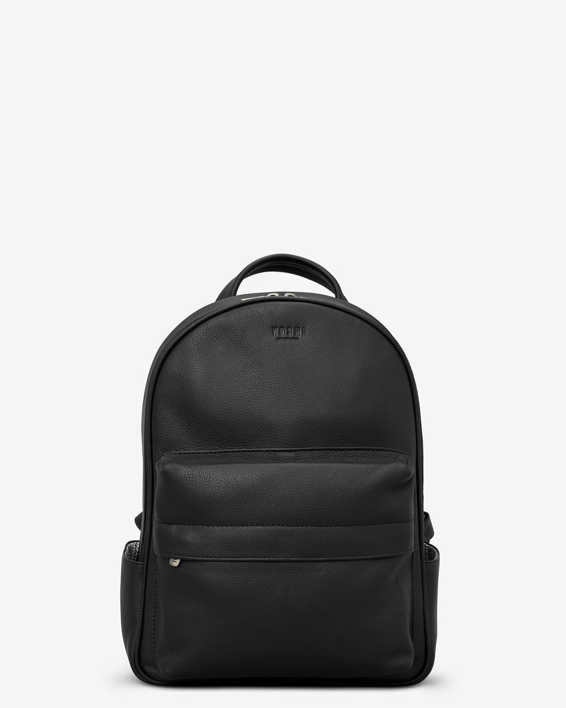 Mercer Black Leather Backpack - Black - Yoshi