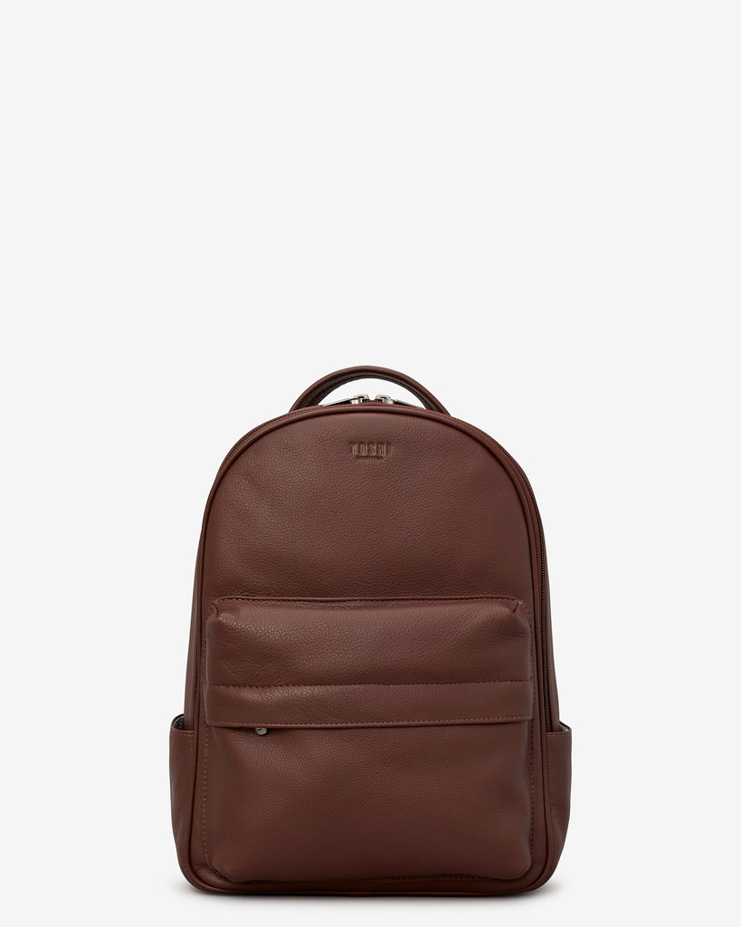 Mercer Brown Leather Backpack - Brown - Yoshi