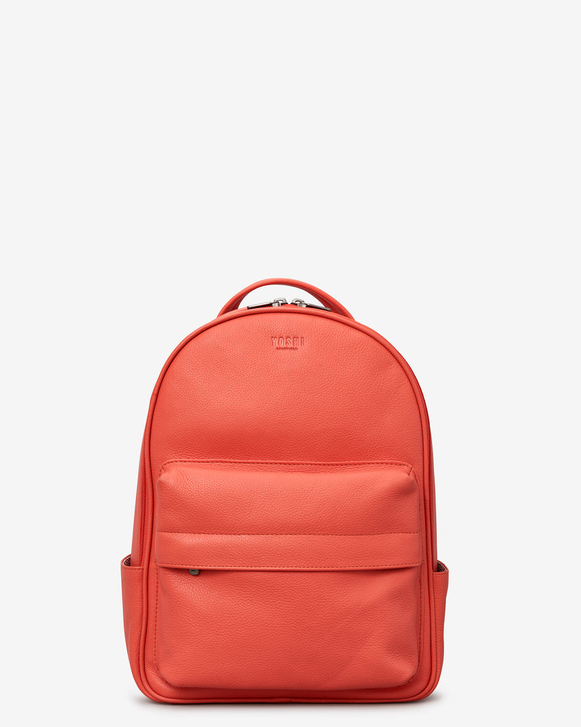 Mercer Coral Leather Backpack - Coral - Yoshi